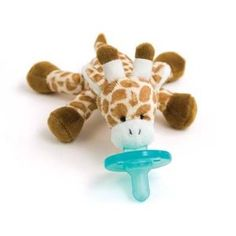 Best pacifier EVER. They are easy to find when thrown, and when the baby is smaller and can't control arms/hands as well, they sit nicely on the chest.