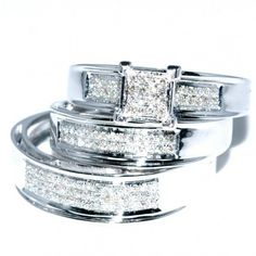 His and Her Trio Wedding Set Mens Women Rings Real 0.4ct Diamonds White Gold #MidwestJewellers #TrioWeddingSet