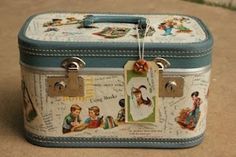 make your own cath kidston style retro illustration vintage kitsch cases for summer travel My Junk Obsession: How to Decoupage a Suitcase Vintage Suitcases, Vintage Luggage, Vintage Travel, Painted Suitcase, Decoupage Suitcase Diy, Vintage Train Case, Creation Deco, Vintage School, Altered Boxes
