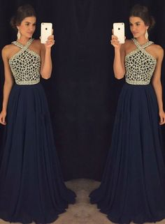Dark blue chiffon bead long prom dress, dark blue evening dress for teens