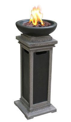 The Fire Pit Bond Ravenswood Propane Gas Column Firebowl With Lava Rock 67080