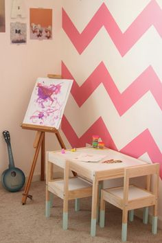 Dreaming Awake blog: Ikea color blocked table for kids