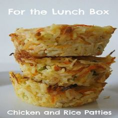 Chicken and Rice Patties,Directions:1. Preheat oven to 200° Celsius. 2. Slice chicken breast in half width ways, so it will cook through quicker. 3. Heat oil in a medium frying pan and cook chicken breast until it begins to brown. 4. Remove from pan and shred chicken using a fork and set aside. 5. Grate carrot so you have at least 1 cup. 6. Finely slice spring onions. 7. Lightly beat the eggs. 8. In a large bowl add cooked rice, chicken, carrot, spring onions, eggs and about ¾s of the…