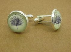 Men's Cufflinks Wedding Silver Bronze Dijiao tree by girlandgift, $1.99