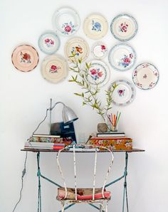 Walls with Plates i'm not crazy. other people like pretty plates on walls.i'm not crazy. other people like pretty plates on walls. Decor, Plate Display, Plates On Wall, Plates Diy, Diy Wall, Plate Wall Display, Vintage Plates, Beautiful Wall Decor, Diy Wall Art