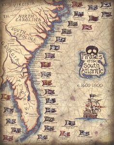 Pirates of the South Atlantic States Art Print by GeographicsArt