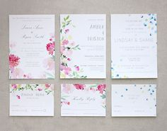 watercolour wedding invites