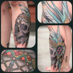 Skull with headdress tattoo by Sean Wright Headdress Tattoo, Wonderland Tattoo, Tatting, Tattoo Ideas, Skull, Ink, India Ink, Needle Tatting, Sugar Skull