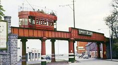 Howth tram crossing bridge shortly before being shutdown in Old Pictures, Old Photos, Gone Days, Dublin Street, Photo Engraving, Cottages By The Sea, Old Trains, History Photos, Dublin Ireland