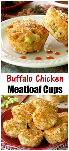 Buffalo Chicken Meatloaf Cups - wing-inspired flavors in perfectly portioned muffin-sized meatloaves.Gluten-free!