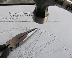 String art tutorial~Hammer small nails through all of the holes. String Art Tutorials, String Art Patterns, Doily Patterns, Dress Patterns, Nail String Art, String Crafts, Pin Art String, Nail Art, Arte Linear
