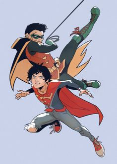 """inntia: """" - """"So what's your name?"""" - """"It's Johnatan Kent, you know that"""". - """"No, it's Superboy, which means it's time to forget going to bed on time…and be super"""" """" Son Of Batman, Superman Family, Arte Dc Comics, Batman Comics, Damian Wayne, Jon Kent, Jonathan Kent, Supergirl, Dc Trinity"""