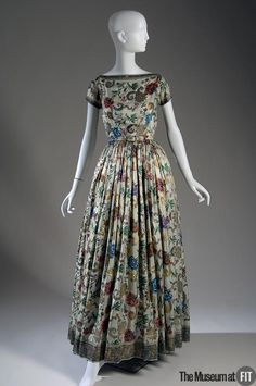 1955, America - Dress by Traina-Norell - Silk, multicolor and metallic embroidery