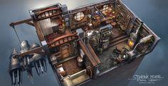 Steampunk Interior, Ferdinand Ladera on ArtStation at https://www.artstation.com/artwork/Wz0R2