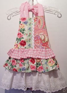 Shabby Chic  Childs Apron Girls Full Ruffled by kathleenmelville1