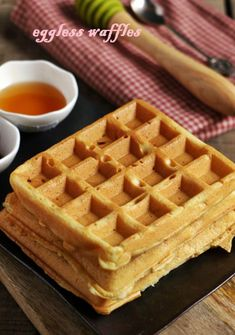 Eggless waffle recipe, crispy exterior with soft and spongy inside waffles for breakfast. vanilla flavored delicious waffles, fun breakfast for toddlers and kids! Recipe @ http://cookclickndevour.com/eggless-waffle-recipe #cookclickndevour #breakfast #eggless #waffles #toddlerfood #kidsfood #funfood