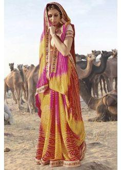 multi couleur georgette saree, - 94,00 €, #Robeindienne #Tenueindienne #Sarimariage #Shopkund