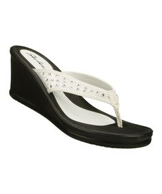 Take a look at this White Malibu Wedge by Skechers on #zulily today!