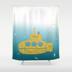 YELLOW SUBMARINE SHOWER CURTAINS