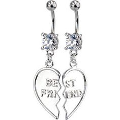 TWO Piece Set BEST FRIEND Dangle Belly Rings Body Candy. $18.99. Save 65%!