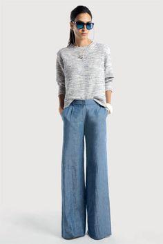 pale gray & blue jean trousers