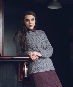 The Galway Pullover has a chic, professorial look that could grace a classroom—or anywhere you might go on a casual winter day. The beautiful knitted cables will keep your attention well-occupied!
