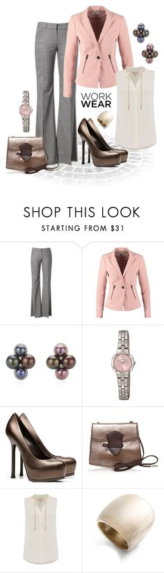 """""""Pink & Bronze"""" by mwaldhaus ❤ liked on Polyvore featuring Theory, ONLY, Seiko, Francesco Biasia, Michael Kors, Alexis Bittar and workblazer"""