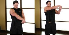 The simple shoulder stretches used for warm up and muscle flexibility, illustrated with step by step procedures and pictures in detailed manner.