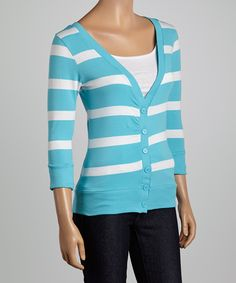 This Oasia & White Stripe V-Neck Cardigan by Zenana is perfect! #zulilyfinds
