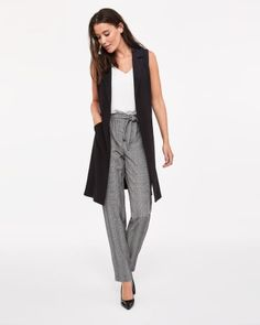Long Sleeveless Vest Sleeveless Blazer Outfit, Long Vest Outfit, Blazer Outfits, Blazer Vest, Long Blazer, Vest Outfits For Women, Cute Outfits With Jeans, Trendy Outfits, Summer Outfits