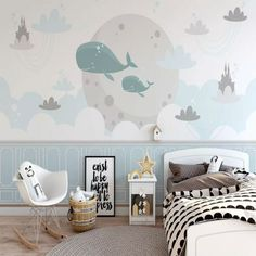 Children Wallpaper, White Clouds, Kids Room, Pattern, Blue, Home Decor, Room Kids, Decoration Home, Room Decor