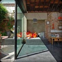Kilburn Lane - exposed brick,glass wall