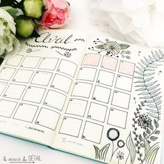 Beautiful botanical monthly spread