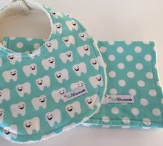 Sold Custom Order Aqua ORGANIC Bib and Burp Cloth by WeeWhimsicals