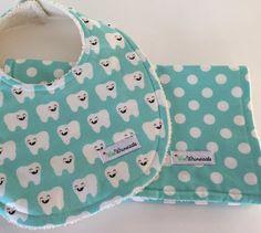 Sold Custom Order Aqua ORGANIC Bib and Burp Cloth by WeeWhimsicals