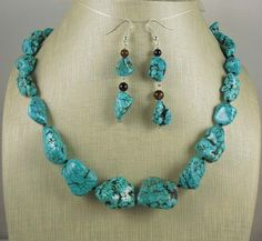 Heavy Turquoise Stone Necklace and Earring set by RainingRustic, $15.00