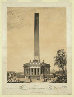 Design of the original Washington Monument by Robert Mills, 1847