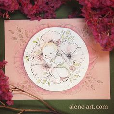 A baby Card for Jemima by Alison Mutton | alene-art.com  A cute floral baby card featuring an original painting for a special little girl.   #cute #sweet #art #drawing #baby #babycard #babygirl #originalart #greetingcard #cardmaking