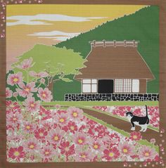 Furoshiki Japanese Fabric  'Tama the Cat and Thatched House' Motif Cotton 50cm