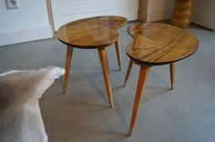 Kidney bean shaped coffee table set of 2 by WoodAndVintage on Etsy, €125.00