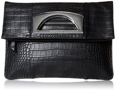 BCBGeneration The Charmed Foldover Clutch, Black, One Size. Fold-over clutch in croco-embossed faux leather featuring metallic-tone handle at center. Vegan Leather, Black Leather, Crocodile Handbags, Vegan Purses, Foldover Clutch, Vegan Handbags, Handbags On Sale, Bcbgeneration, Charmed