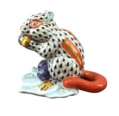 Herend Porcelain Figurine of a Chipmunk with Berries