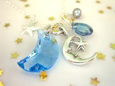 Blue Swarovski Crystal Moon Sterling Silver Celestial by KBlossoms, $40.00