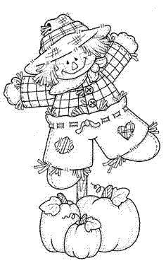 Happy Autumn Scarecrow Coloring Page | Happy autumn, Happy family ...