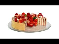 Tarta Fraisier con crema Mousseline y mermelada de fresas - YouTube