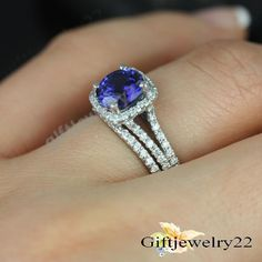 Wedding Bridal Set 14K White Gold Round Sapphire & Diamond Engagement Band Ring #giftjewelry22