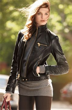 I JUST FOUND THE ONE! the search for the perfect leather jacket is over. got this today at Nordstrom Rack for $198. Fits like a glove, amazing gold details (honestly, the best hardware on a jacket I've ever seen), and smocked side panels make it super unique/interesting. On trend, but still classic. Not too motorcycle, not too junior. it's perfect. PERFECT. @Amanda Aday Cleland @Hilary Hilpert