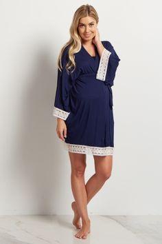 Navy Blue Lace Trim Delivery/Nursing Maternity Robe