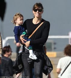 Hot mama! Jessica Biel spent the afternoon visiting USS Yorktown in Charleston, South Carolina with her 18-month-old son Silas on Sunday