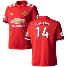cda525f8649 Jesse Lingard Manchester United adidas Youth 2017 18 Home Replica Patch  Jersey - Red